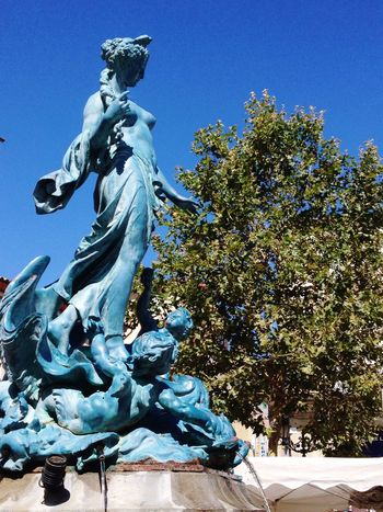 Fountain statue in Limoux France Fountain Statue Limoux France Summer