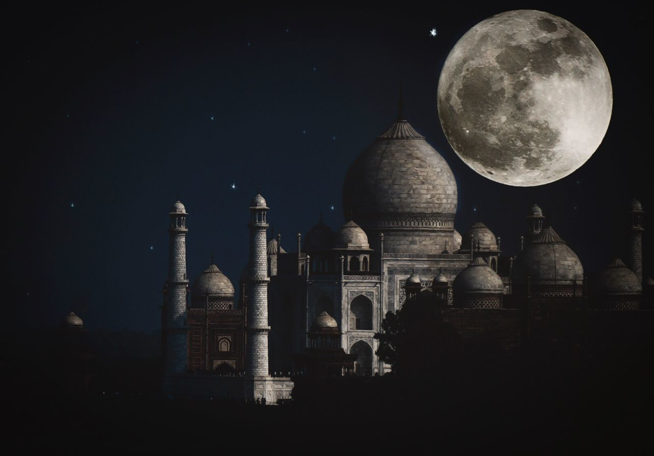 moon, night, architecture, religion, built structure, dome, spirituality, place of worship, building exterior, moon surface, history, no people, outdoors, astronomy, nature, clear sky, beauty in nature, sky, space