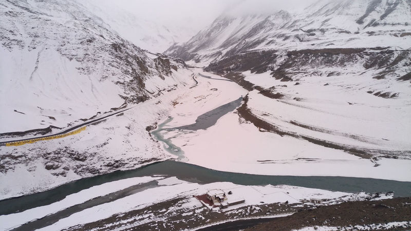 The conjunction of 2 rivers, Indus River and Zanskar River Beauty In Nature Chadar Trek Cold Temperature Conjunction Day Hiking Indus River Ladakh Landscape Mountain Mountain Range Nature No People Outdoors Scenics Sky Snow Travel Travel Destinations Trekking Winter Winter Zanskar River Zanskarriver