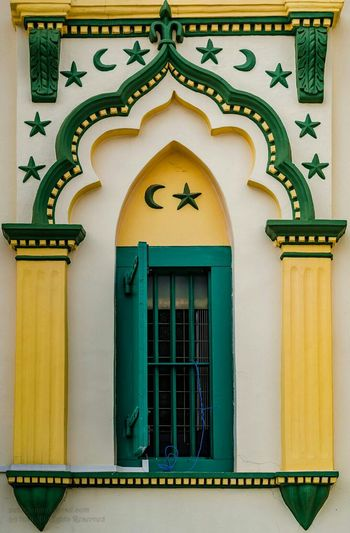 Cinquefoil. Five Petalled Symetry Arch Architecture Crescent Stars Pilaster Single Leaf Window Vintage Geometric Masjid Mosque