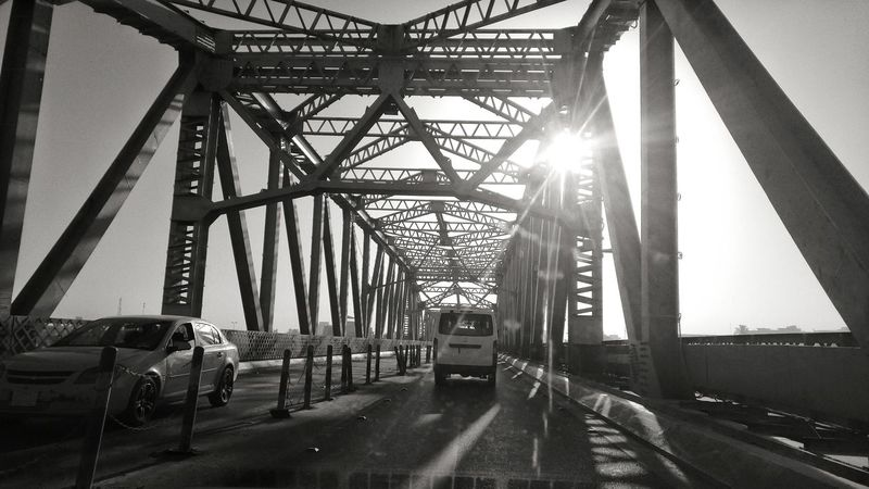 Car Land Vehicle Transportation Architecture Built Structure The Way Forward On The Move Bridge - Man Made Structure Road Sunlight Sunbeam Clear Sky Day Outdoors Sunny Sky Engineering Diminishing Perspective Baghdad , Lraq Baghdad Black & White