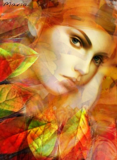 Change Autumn Season  Person Multi Colored Beauty In Nature Orange Color Red Scenics Woman Multiexposure  Artwork By Me Creativity Edited By Me