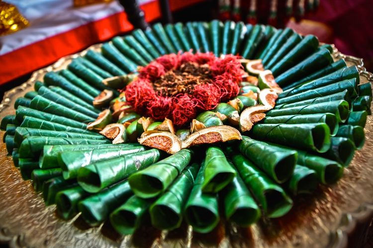 Rolled Up Betel Leaf And Nuts Been Offered As Religious Offerings