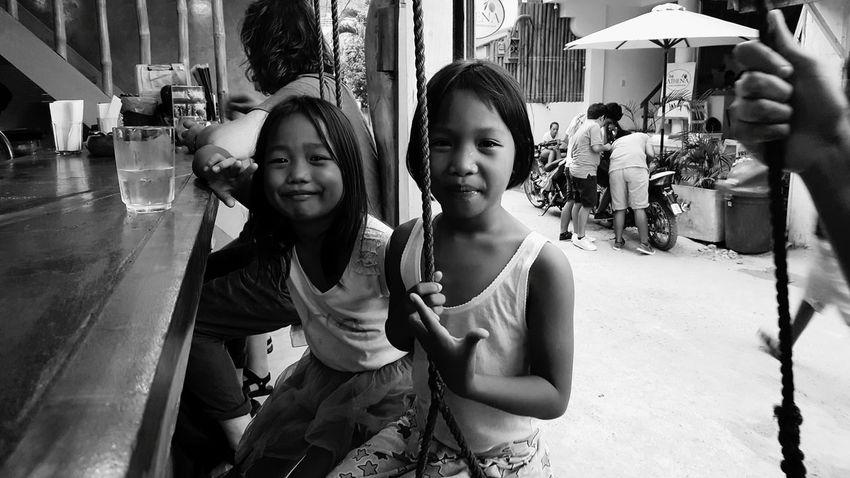 The Future: paikura PHILIPPINES Girls Friendship Outdoors Childhood Bonding Real People Cheerful Travel AMPt_community Eye4photography  EyeEm Best Shots - Black + White Monochrome Photography Philippines The Street Photographer - 2017 EyeEm Awards