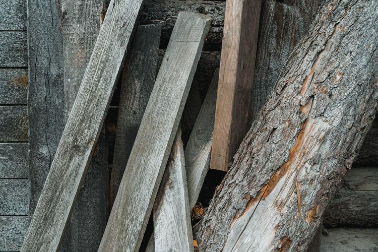 Full frame shot of old wooden log