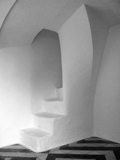staircase in a small spanish church Absence B/w Black & White Chapel Church Empty Indoors  Interior No People Simplicity Staircase Stairs Thick Walls Wall Wall - Building Feature White White Color
