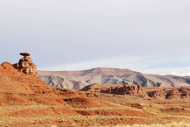 Rock formations at mexican hat against sky