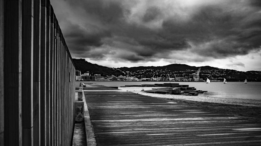 Wellington Harbour Architecture B&w Photography Bay Beach Building Exterior Built Structure City Cloud - Sky Day Direction Land Moody Mountain Nature No People Outdoors Overcast Sea Sky Transportation Water
