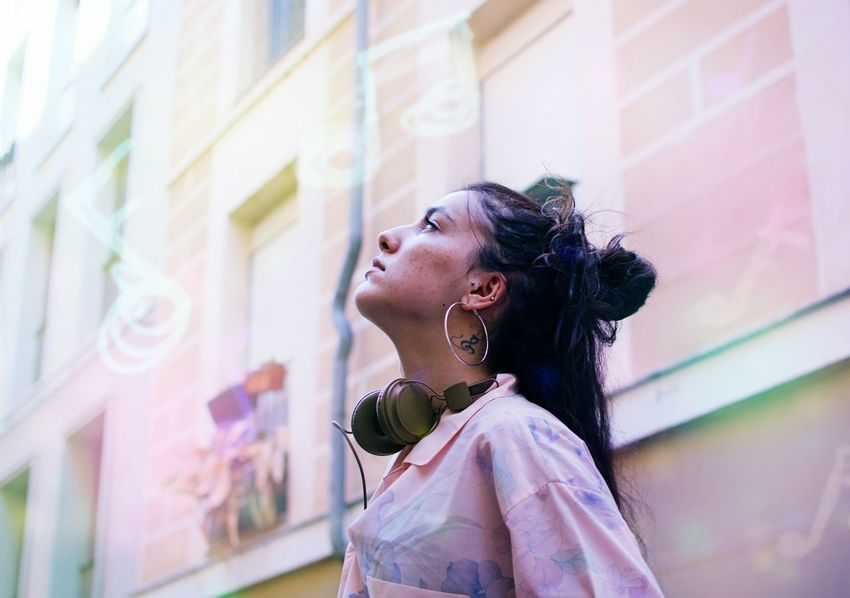 EyeEm Selects One Person Looking Up City People Outdoors Street City Street Headshot One Woman Only Music