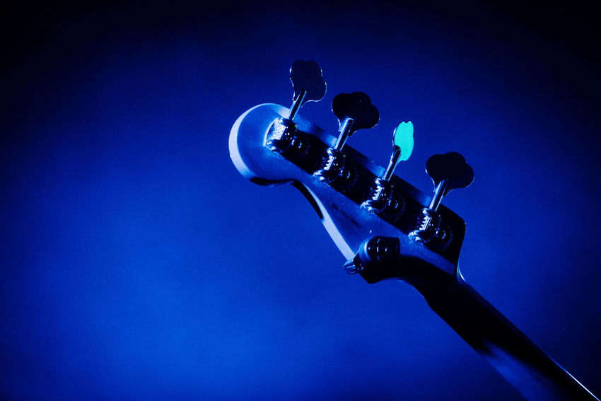 Arts Culture And Entertainment Blue Close-up Guitar Illuminated Low Angle View Music Musical Instrument Night No People Technology