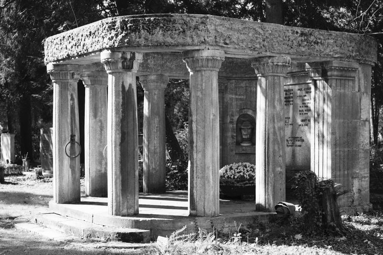 Monument at Cologne Melaten Cemetery. Architectural Column Architecture History Built Structure Outdoors Old Ruin Building Exterior Day Ancient Travel Destinations No People Ancient Civilization Grave Graveyard Gravestone Cemetery Fine Art Black & White Blackandwhite Photography Monochrome Black And White Fine Art Photography Blackandwhite Monument Architecture