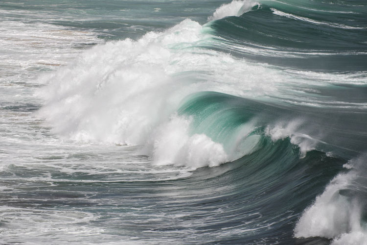 Stormy sea with breaking waves