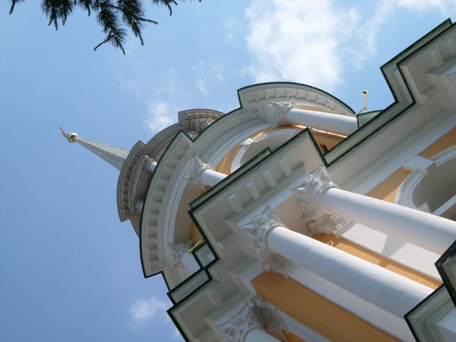 колокольня Architectural Feature Architecture Blue Building Building Exterior Built Structure Capital Cities  City Cloud Cloud - Sky Day Low Angle View Modern No People Outdoors Sky Tall Tall - High Tilt Tourism Tower Travel Destinations Classical Architecture Church Architecture Churchtower
