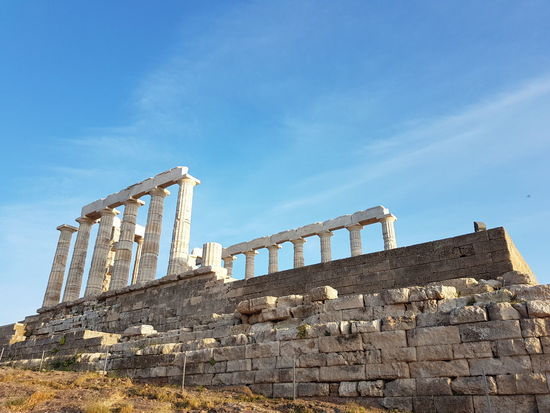 Temple Of Poseidon Low Angle View Architecture History Day No People Travel Destinations Building Exterior Sounio Sunion Trip Outdoors Temple Of Poseidon Cloud - Sky Greece
