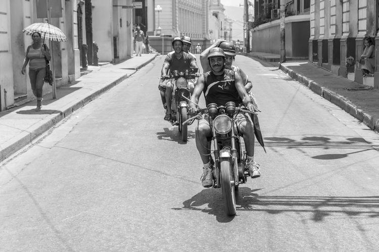 Bike Bikers Blackandwhite Blackandwhitephotography City Cuba Fun Happy Men Outdoors Santiago De Cuba Speed Street Throwback Transportation Urban Urbanphotography