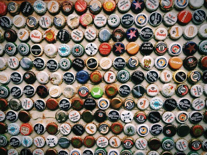 Full frame shot of bottle caps