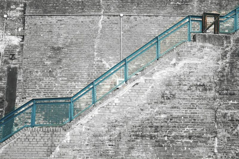 Steps And Staircases Staircase Steps Railing Architecture Day No People Outdoors Bochum City Westpark Cityscape Wall Wallart Wallpaper Wallbrick Brick Wall Brick Blue Blackandwhite Grey Steps Stair Break The Mold Place Of Heart The Architect - 2017 EyeEm Awards