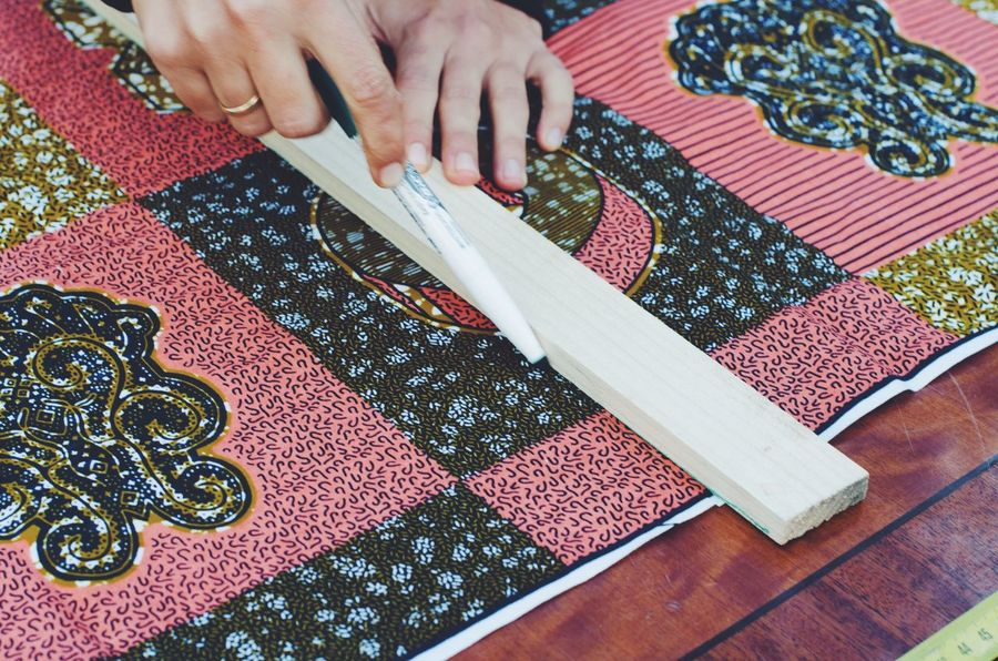 sewing Human Body Part One Person Human Hand Sewing Indoors  High Angle View One Woman Only Real People Activity Work Fabric Craft Creativity Hand Meter Crafts Close-up Creative
