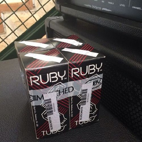 Ruby 6L6GC tubes I got with my amp. This very set was given to the guy I bought the amp from, by Tommaso Riccardi (Guitarist and lead vocalist of Fleshgod Apocalypse) when they toured together here in SA. Metal Blackmetal Deathmetal Rubytubes FleshgodApocalypse