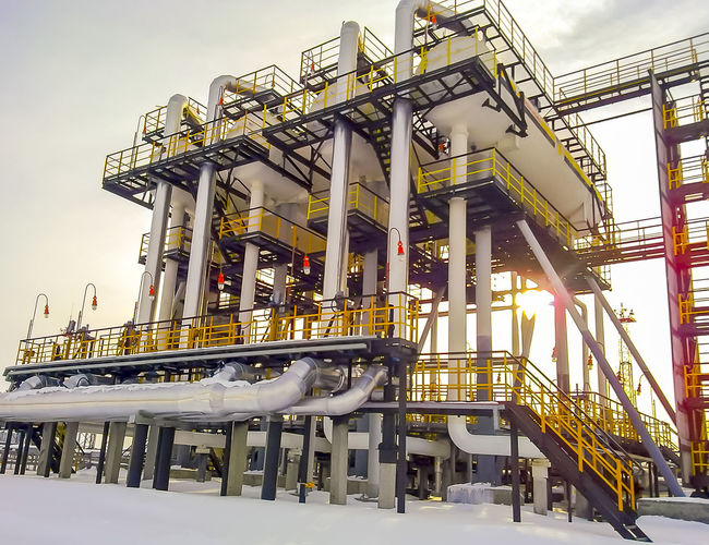Oil Oil Pump Gas Gasprom Rosneft Refinery Industry Architecture Built Structure Snow Sky Winter Building Exterior Low Angle View Cold Temperature Day Nature No People Outdoors Staircase Connection Illuminated Business Arts Culture And Entertainment Metal