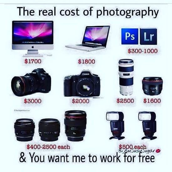 Seriously u want us to work for free ? Prv Prvphotography Photographer Overpriced