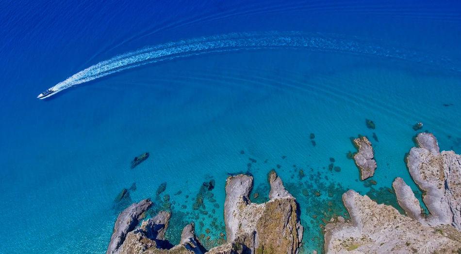 High angle view of rocks on beach