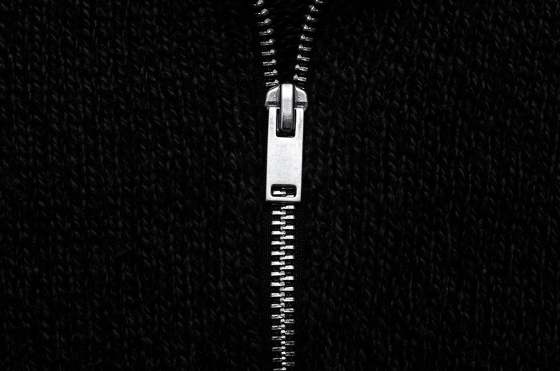 Close-up view of zipper