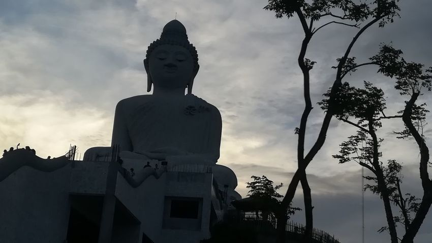 Silhouette , The Big Buddha in Phuket. Travelling Statues Thailand Travel Photography Buddhism Buddha Buddha Statue Architecture Human Representation Statue Sculpture Cloud - Sky Low Angle View Spirituality Religion Travel Destinations Tree Sky Male Likeness