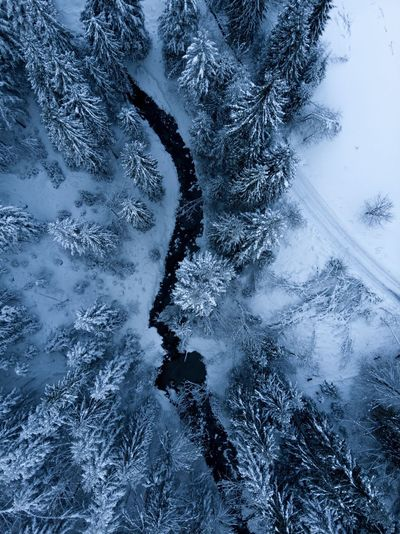 High angle view of snow covered mountain