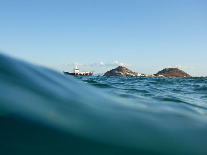 Mykonos,Greece Wave Beach Blue Boat Mountain Mykonos Sea Sea And Sky Summer Swim Waves, Ocean, Nature