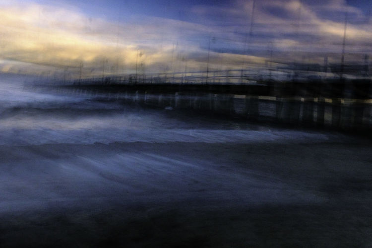 Impression of pier in Orłowo, Gdynia. Beach Beauty In Nature Cloud - Sky Dark Day Experiment Experimental Photography Impression Nature No People Outdoors Pier Scenics Sky Tranquil Scene Tranquility Water