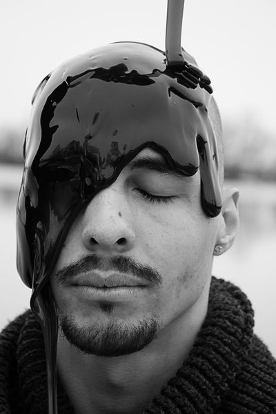 man with syrup on head Fluid Front View Headshot Human Face One Person Outdoors Over Head Portrait Real People Young Adult