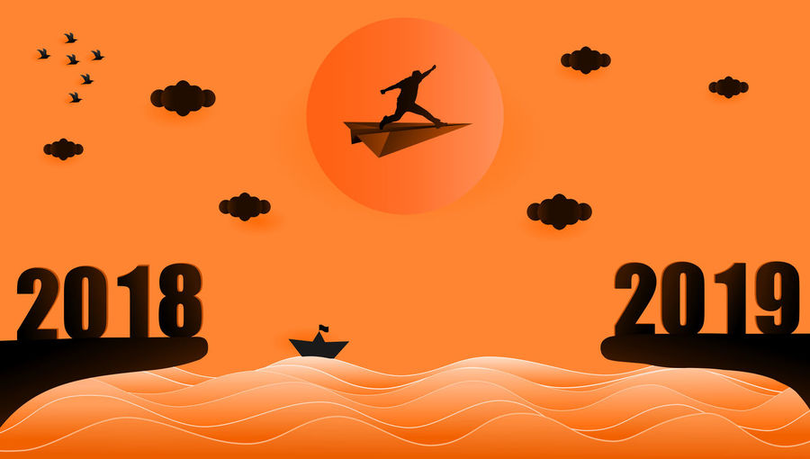 Illustration graphic design silhouette of business man sitting on the paper plane flying from year 2018 to year 2019 over sunset at the sea, paper art style concept for 2019 new year. 2016 2019 New Year Illustration Design Grahpic Sunset Sunrise Silhouette Blackandwhite Jumping People Success Destination Target Activity Black Orange Color Twilight Evening Sky Flying Concept Sun Sea