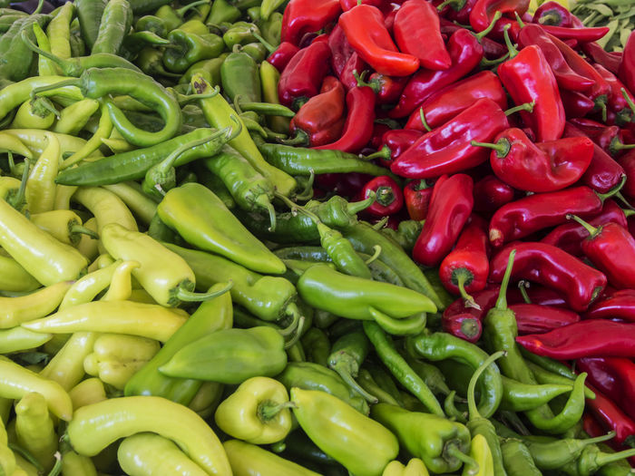 Full frame shot of chili peppers for sale at market stall