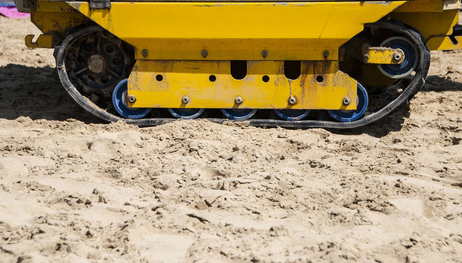 Bulldozer on muddy land