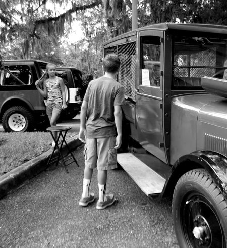 Car Show Antique Truck Boy Girl Black And White Photography
