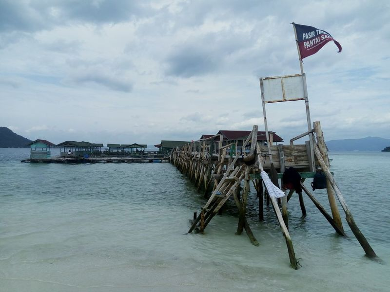 Sea Water Beach Sky Outdoors Horizon Over Water Built Structure Day Nature Jetty INDONESIA Lampung, Indonesia No People Architecture