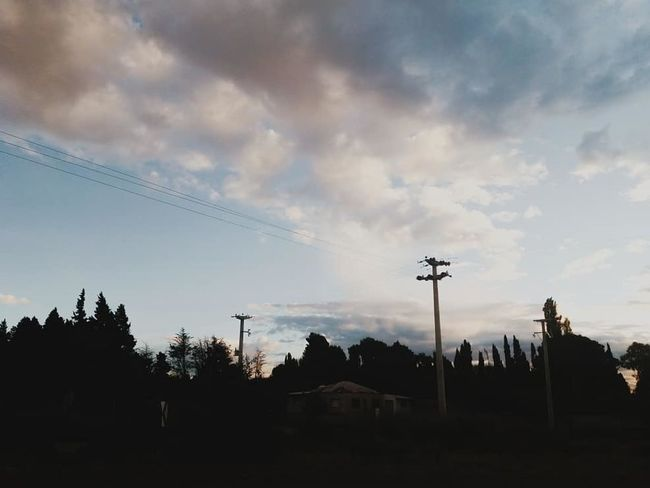 Cielo Clouds EyeEmNewHere Tarde  Afternoon Nubes Nubes Y Cielo VSCO Trelew Chubut Argentina Argentina Photography Muted Pallete Muted Colors Tree Sunset Silhouette Electricity Pylon Sky Cloud - Sky Telephone Line Telephone Pole Electric Pole Cable