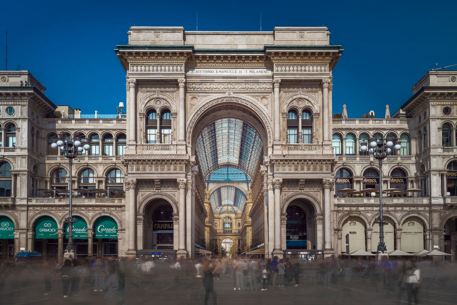 Architecture Built Structure Building Exterior Arch Sky History Building City Travel Destinations Travel Clear Sky Blue Day Tourism Outdoors Long Exposure Milano Italy Vittorio Emanuele II International Landmark Landmark Editorial  High Dynamic Range HDR Hdr_Collection