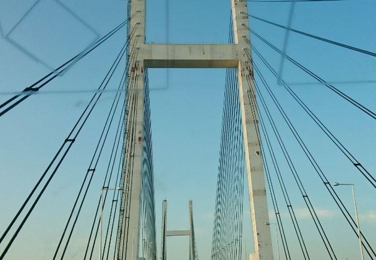 っていうことで #横浜ベイブリッジ 久しぶりー お仕事からの帰り道 からの#寄り道笑 横浜ベイブリッジ 寄り道 お疲れさまでーす 笑顔でいこーね 美里 Sailing Ship Tall Ship Clear Sky City Cityscape Suspension Bridge Cable Bridge - Man Made Structure Hanging Blue
