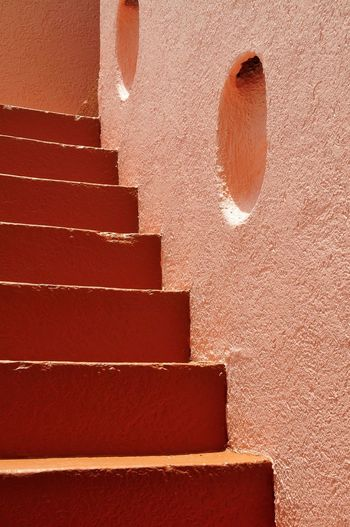 Barbados Steps Wall - Building Feature Architecture Built Structure Red Steps Vibrant Color Full Frame Stairways Stairs Orange Color Orange Orang
