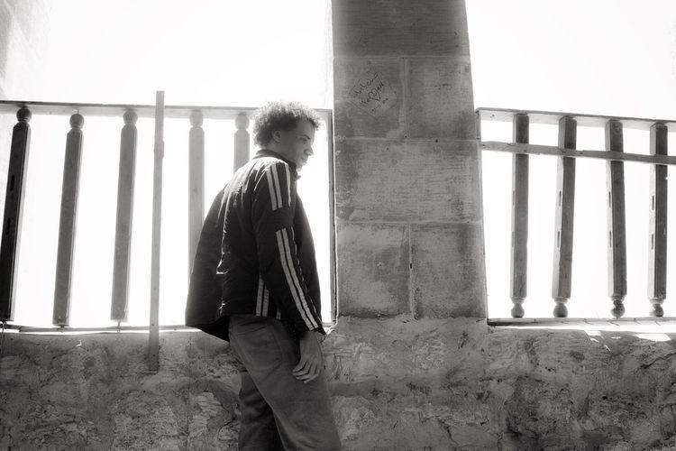 Qaitbay citadel. Historical Building Rails Son Man Light Alexandria Egypt Blackandwhitephotography Blackandwhite Black & White
