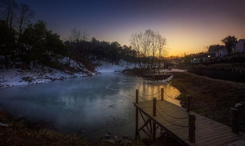 冰湖日落 Beauty In Nature Day Lake Nature No People Outdoors Sky Sunset Travel Destinations Tree Water 冬天 南京 旅游 老山森林公园 雪