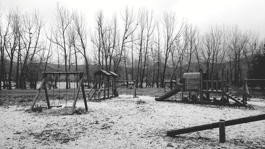 Blackandwhite Black And White Autumn Child Park Wooden Park Trees Swing Slides Seesaw Outdoors Tree Day No People Nature Sky Bare Tree Beauty In Nature