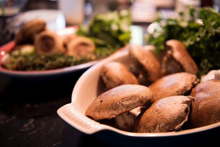 Close-up of mushrooms in bowl