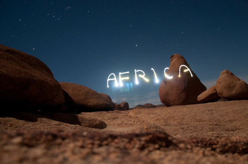 Africa Afrika Desert Landscape Night Nightphotography Outdoors Sky Spitzkoppe Stars Vacations Writing With Light