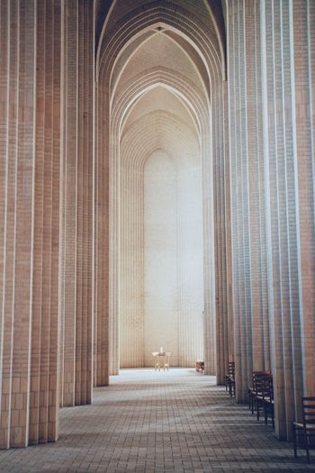 Empty corridor church soft light