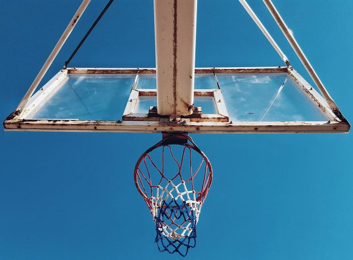 Low Angle View Of Basketbal Hoop