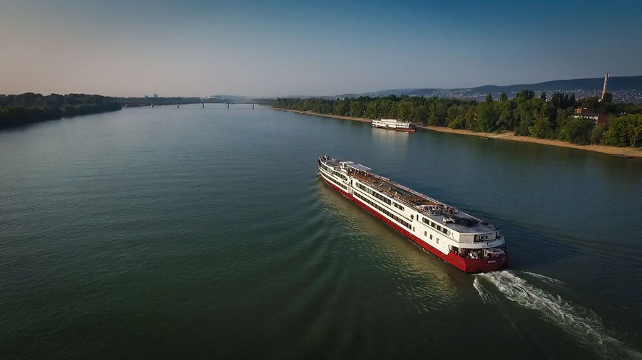 Budapest Canal Danube Drone  Drone Shots Dronephotography High Angle View Hungary No People Remote River Ship Sky Tourism