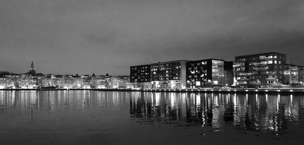 Blackandwhite Architecture Building Exterior Built Structure Water Reflection City Travel Destinations Sky No People Illuminated Skyscraper Night Waterfront Cityscape Outdoors